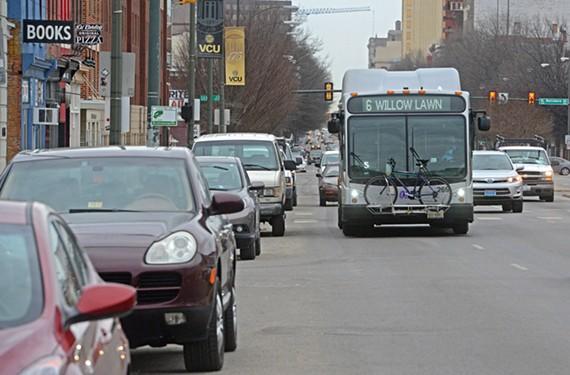A bus heads west on Broad Street into Virginia Commonwealth University's academic campus. - SCOTT ELMQUIST