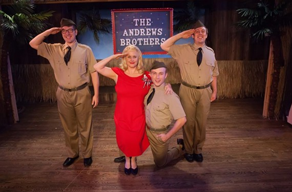 "Ian Page, Georgia Rogers Farmer, Caleb Wade and Pj Llewellyn in ""The Andrews Brothers"" at Swift Creek Mill Theatre."