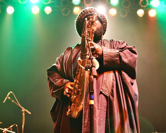 Kamasi Washington's melodic solos reminded our reviewer more of Sonny Rollins than the oft-mentioned comparison, John Coltrane. - PETER MCELHINNEY