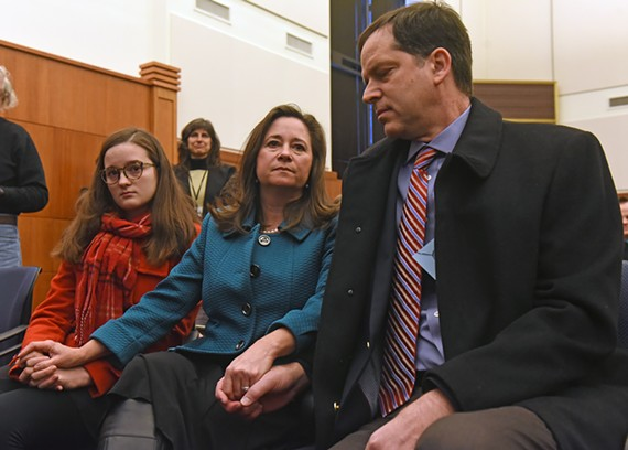 Democrat Shelly Simonds from Newport News sits in the front row with her husband, Paul, and her 15-year-old daughter, Georgia. - SCOTT ELMQUIST