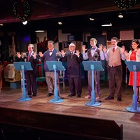 "Audiences looking for a feel-good holiday show with four-part harmonies will love Swift Creek Mill Theatre's ""A 1940s Radio Christmas Carol"""