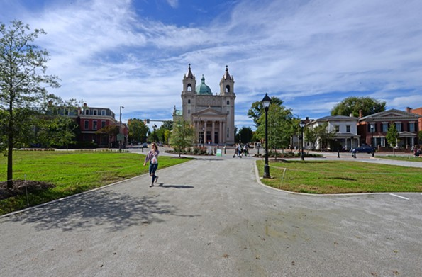 The Cathedral of the Sacred Heart on North Laurel Street, completed in 1906, is among the landmarks now viewed through a new lens with the park's renovation. - SCOTT ELMQUIST