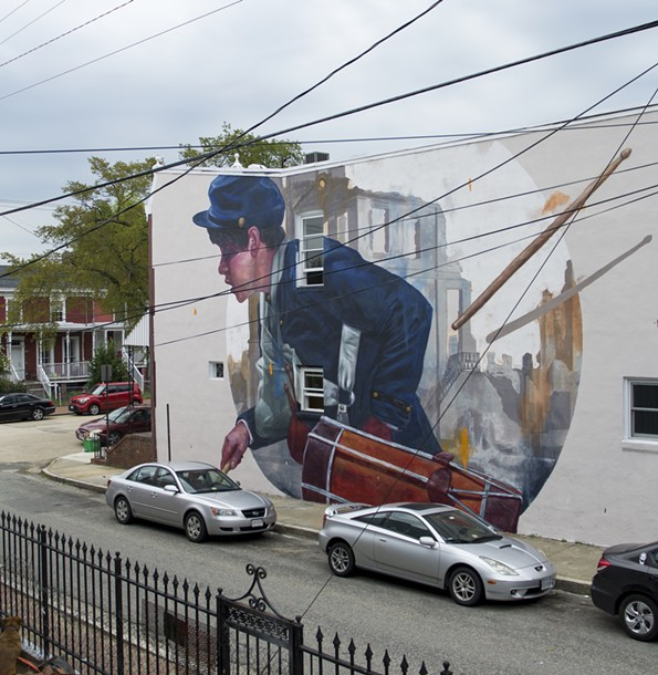 """Artist: Evoca; Location: Clay and Gilmer; The artist notes in his interview with Broth that while he got a lot of positive feedback while in Richmond, he later heard some people """"weren't so happy about having a Union soldier in a Confederate city."""" He adds that he was intrigued by the role drummer boys played in the Civil War, relaying orders or looking for the wounded. - PHOTO COURTESY """"MURALS OF RICHMOND"""""""