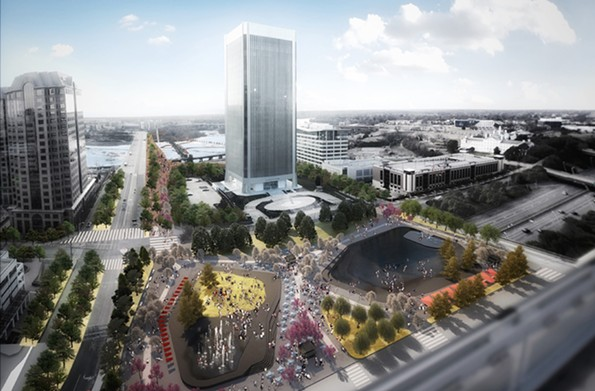 A rendering looks southwest from Canal Street, by Spatial Affairs Bureau, an architecture and planning firm with offices in London, Los Angeles and Richmond. The plans show how the Manchester Bridge, at upper left, would be reconfigured and tie into green space near the Federal Reserve Bank, the office tower in the center, and Kanawha Plaza, in the foreground. - RICHMOND BRIDGEPARK FOUNDATION