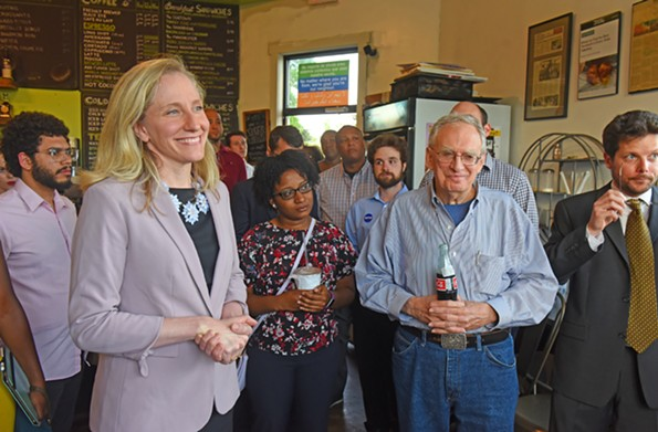 Before the primary election, Spanberger met supporters and answered questions during an event at Brewer's Cafe in Manchester. - SCOTT ELMQUIST