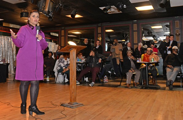 Kim Gray speaks to constituents of the 8th District on Dec 13 at the Satellite Lounge. Councilwoman Reva Trammel asked Gray to share information on the commission she was proposing to help analyze the proposed $1.4 billion Coliseum replacement. - SCOTT ELMQUIST