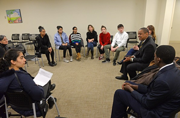 Lt. Gov. Justin Fairfax addresses a group of teenagers who spend Martin Luther King Day lobbying for gun-violence prevention. - SCOTT ELMQUIST