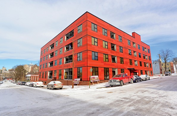 Terrace 202 is a colorful, 57-unit apartment building in Shockoe Bottom. - SCOTT ELMQUIST