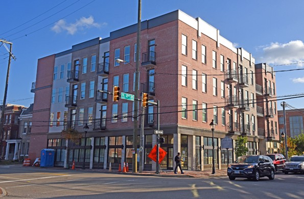 The new mixed-use Eggleston Plaza, in Jackson Ward at North Second and East Leigh streets, reflects the Italianate scale and features of nearby historic buildings. - SCOTT ELMQUIST