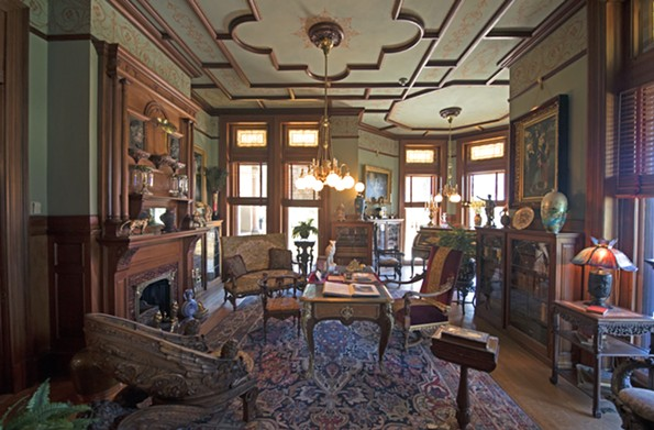 The richly detailed library contains an eclectic collection of books and decorative arts from the Gilded Age. - SCOTT ELMQUIST
