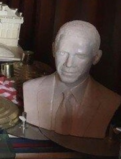 This concrete bust of President Barack Obama was taken from a farm in Croaker where 43 larger busts of presidents are stored. - HOWARD HANKINS
