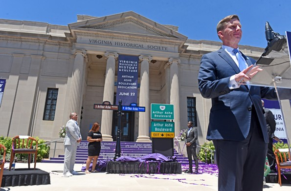 Jamie Bosket, president of the Virginia Museum of History and Culture, speaks at the renaming ceremony. - SCOTT ELMQUIST