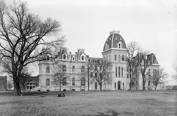 "The main building of Richmond College, shown in about 1900, dominated the campus near what is now the intersection of Lombardy and West Grace streets. In 1914 the men's school moved to the Westhampton neighborhood, where it was newly admitting women, it reopened as the University of Richmond. Today, the 1100 block of West Grace is lined with numerous student apartment buildings which have earned the stretch the moniker of ""hell block."" - THE VALENTINE"