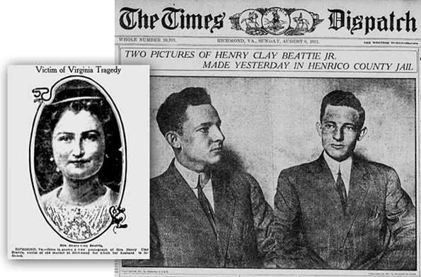 Wealthy Richmonder Henry Clay Beattie Jr. was photographed in Henrico County Jail for the Times Dispatch on Aug. 6, 1911. To the right is a photo of his wife, Louise Wellford Owen Beattie, who he murdered not long after she gave birth to his child. Beattie was executed by electric chair on Nov. 24.