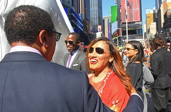 Richmond Councilwoman Kimberly Gray visits with Monroe Harris, VMFA board president, at the Sept. 27 event in New York. - SCOTT ELMQUIST