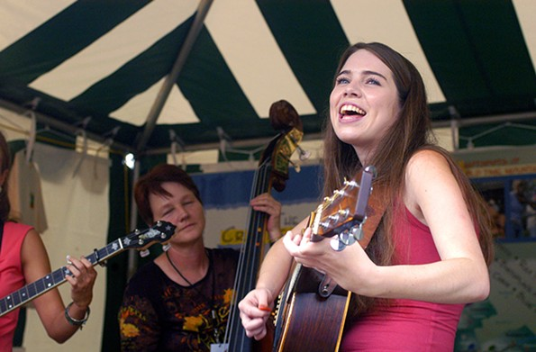 Folk Fest favorite Martha Spencer sings with the Crooked Road String Band in 2005. - SCOTT ELMQUIST/FILE