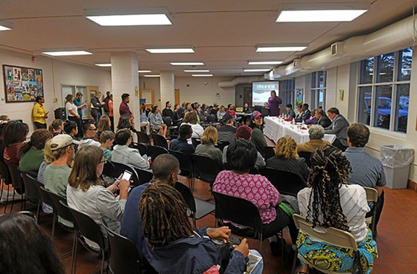 Six of seven candidates for City Council attempt to differentiate themselves Oct. 10 at the Richmond Mayorathon-sponsored debate at the Randolph Community Center. - SCOTT ELMQUIST