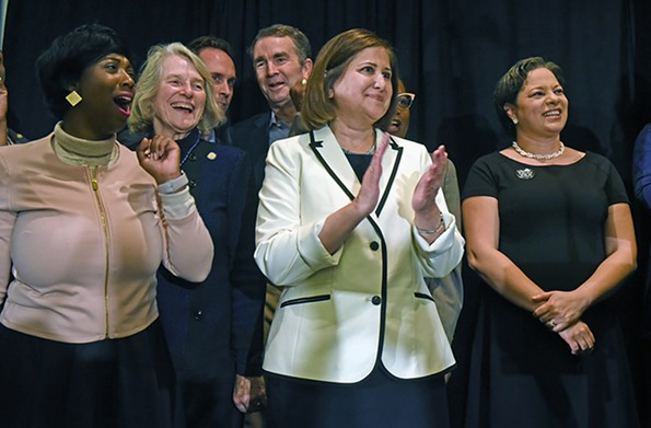 Ghazala Hashmi of Chesterfield County, who became the first Muslim woman elected to the Virginia Senate, stands beside Sen. Jennifer McClellan, who is considered a potential gubernatorial candidate. - SCOTT ELMQUIST/FILE