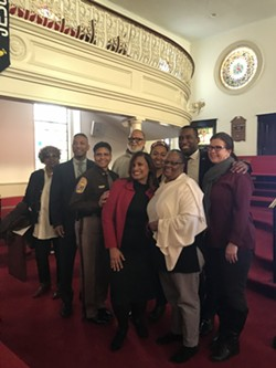 City officials, including Mayor Levar Stoney and City Councilwoman Kimberly Gray (front), were in attendance today at the historic Ebenezer Baptist Church on Leigh Street to honor Martin Luther King Jr. - SARAH KING