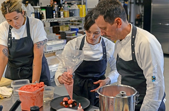 Megan Fitzroy Phelan and Patrick Phelan plate a dessert in the kitchen at their fine dining restaurant Longoven in 2018. It suspended all operations March 14 and has since applied for funding. - SCOTT ELMQUIST/FILE