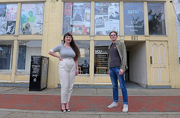 Georgia Geen, the most recent editor, and incoming editor Andrew Ringle stand outside the paper's current headquarters at the Student Media Center on Broad Street. - SCOTT ELMQUIST