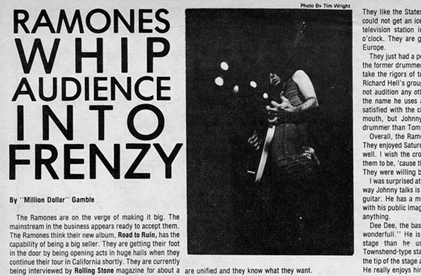 The Ramones concert in the gymnasium in October 1978 was reviewed by the Commonwealth Times. - VCU LIBRARIES