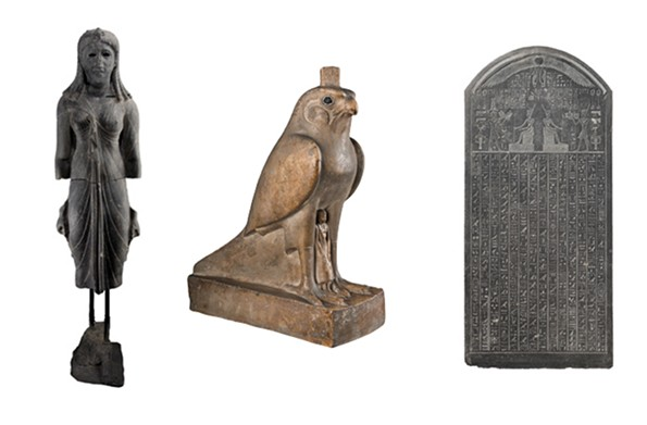 From left to right: This queen dressed as Isis is from second century B.C. A statue of Horus protecting Pharaoh is of unknown origin from about 350 B.C. A stele from Thonis-Heracleion dates to 380 B.C.