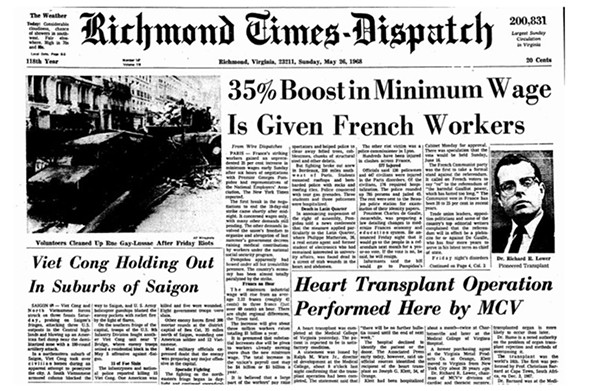 The Times-Dispatch put MCV's first heart transplant operation on the front page of its May 26, 1968, issue.