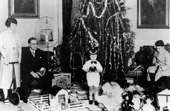 In 1925, Gov. E. Lee Trinkle and his family celebrate the holidays in the mansion ballroom. - THE LIBRARY OF VIRGINIA