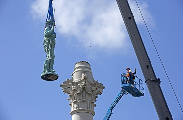 The Vindicatrix was removed from the Jefferson Davis monument on July 8. - SCOTT ELMQUIST