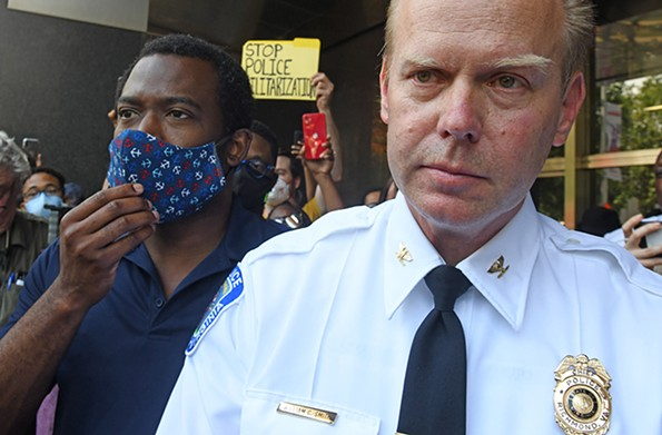 Stoney and then-Police Chief Will Smith address protesters the morning of June 2 outside City Hall. - SCOTT ELMQUIST/FILE