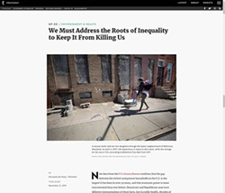 A screenshot of a story on the growing inequality gap and its association with increased mortality rates in the United States that ran at Truthout on Dec. 21, 2019.