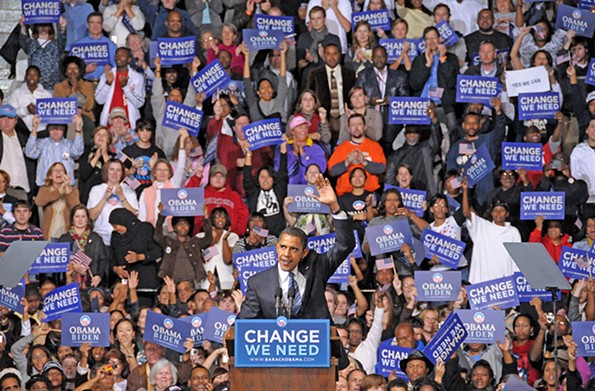 Then-Illinois Sen. Barack Obama addressed some 12,900 supporters on Oct. 22, 2008, inside the Coliseum while a crowd of 7,000 gathered on the plaza. - SCOTT ELMQUIST/FILE