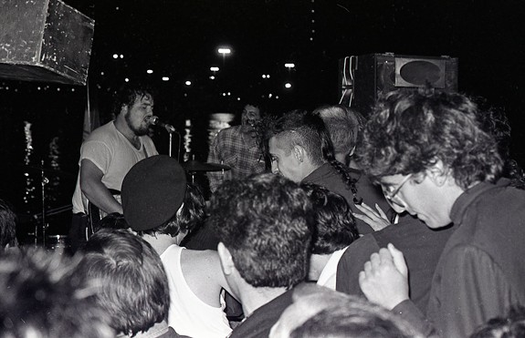 D. Boon and Mike Watt of the Minutemen performing at one of the Desolation Center shows in Southern California during the early 1980s.