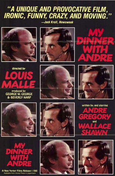 """An adfor """"My Dinner with André,"""" an independent film that opened quietly in autumn 1981 but became a box office success after two thumbs up from critics Roger Ebert and Gene Siskel.The movie would be parodied often in popular culture by the likes of Andy Kaufman (""""My Breakfast with Blassie""""), Christopher Guest (""""Waiting for Guffman"""") and on """"The Simpsons"""" and """"Community"""" television shows."""