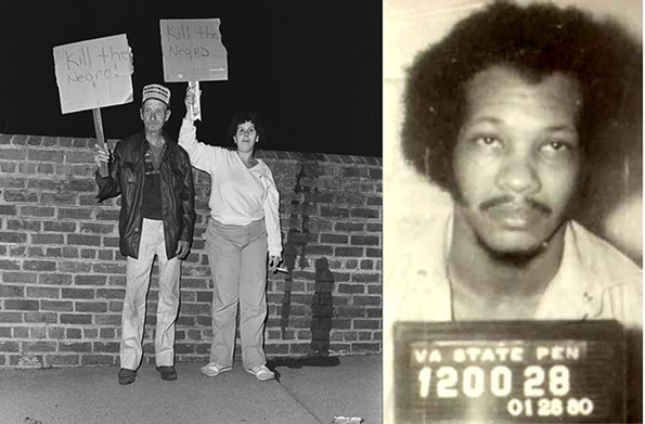 In the hours leading up to the 1984 execution of Linwood Briley for murder, celebratory crowds outside the Virginia State Penitentiary waved homemade signs declaring racist invectives. - DAVID STOVER