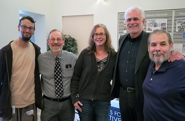 Abolition presentation in Charlottesville, 2019. (L to R) Author and advocate Shane Claiborne, VADP Executive Director Michael Stone, Susan Brumfield, VADP Field Director Dale Brumfield, former death row prisoner Joe Giarratano.