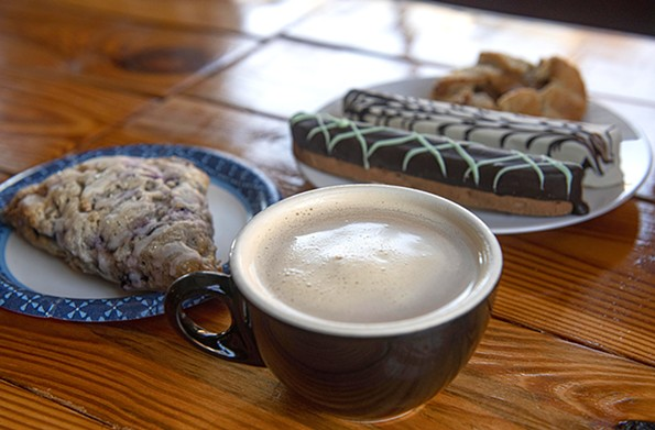 Fresh pastries are among the treats at Baines Books & Coffee, a populartown gathering spot. - SCOTT ELMQUIST