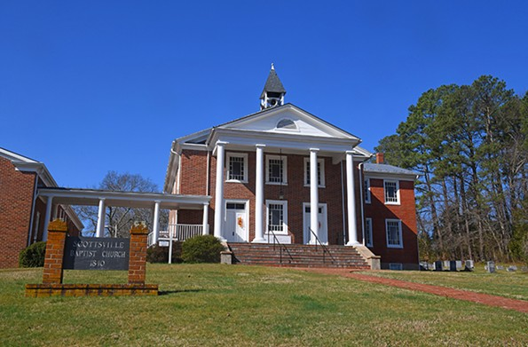 Scottsville Baptist Church, built in 1840, is a landmark on residential Harrison Street. - SCOTT ELMQUIST