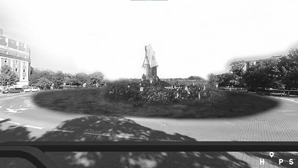 A photo illustration from the tour, blending the 1890 unveiling of the Lee monument with the present day. - HIDDEN IN PLAIN SITE