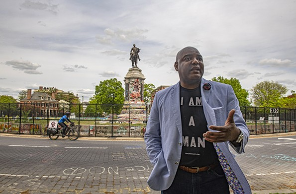 J. Dontrese Brown discusses the power of repurposing the Lee monument by the Black Lives Matter movement. - SCOTT ELMQUIST