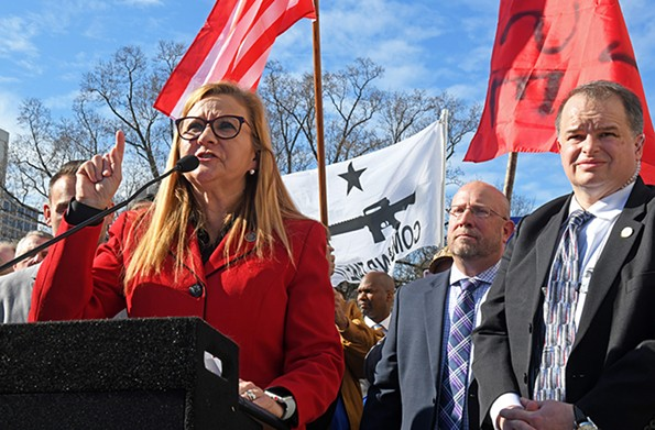 State Sen. Amanda Chase often carries firearms and is vocal in her support of them. Here she announces her bid for governor at the Virginia State Capitol. - SCOTT ELMQUIST