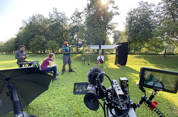 Directors Lance Warren and Hannah Ayers and lighting designer Randall Taylor Jr. set up an interview with Viola Baskerville in Byrd Park.