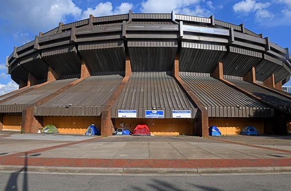 A homeless encampment sits outside of the Richmond Coliseum. - SCOTT ELMQUIST