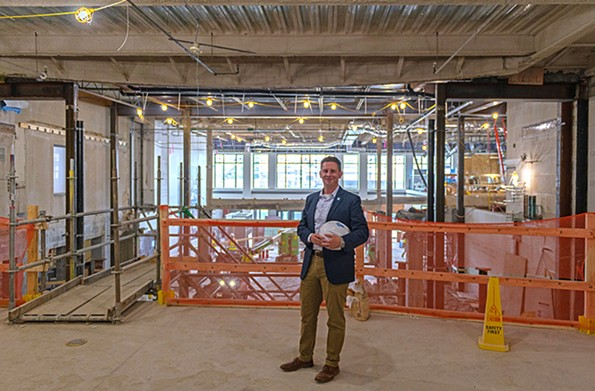 Jamie Bosket, president and CEO of the history museum, stands amid the construction of the new great hall two weeks ago. - COURTESY THE VIRGINIA MUSEUM OF HISTORY & CULTURE
