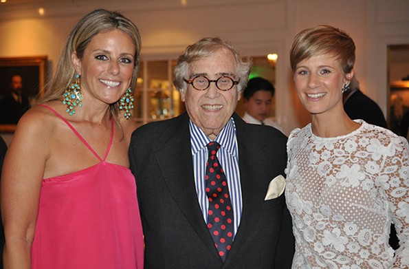 """Newlyweds Sarah Tallman (left) and Liz Parker with Richard S. """"Major"""" Reynolds, III, Parker's great uncle, at their wedding reception at the Indian Harbor Yacht Club in Greenwich, Ct. in May 2017. - COURTESY LIZ PARKER"""
