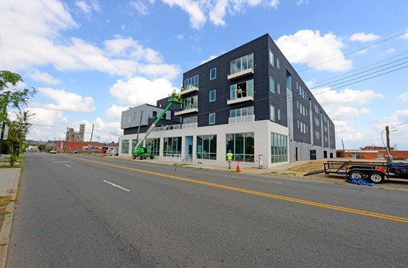 PortRVA, a 102-unit apartment complex with commercial space at 500 Hull St. and developed by Property Results, is nearing completion. - SCOTT ELMQUIST