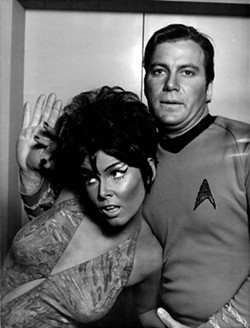 """William Shatner as Captain James T. Kirk in a publicity still from the original television series """"Star Trek"""" and the episode """"Whom Gods Destroy."""""""
