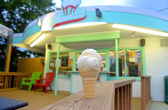 A peach ice cream cone from Sweet 95 on the Boulevard. - SCOTT ELMQUIST
