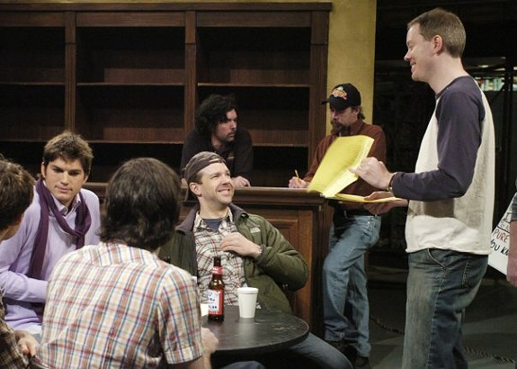 Bryan Tucker working on the SNL set with host Ashton Kutcher, the last time I went to see him in New York.
